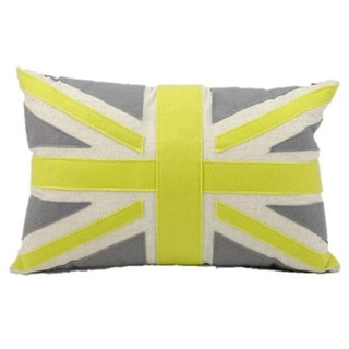 Mina Victory Felt Green Union Jack 24-inch Throw Pillow