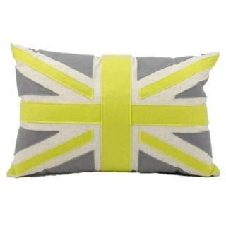 Mina Victory Felt Green Union Jack 24 Inch Throw Pillow