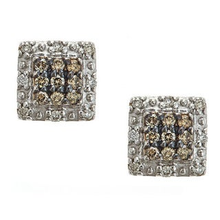 14k White Gold 1/4ct TDW Brown and White Diamond Earring