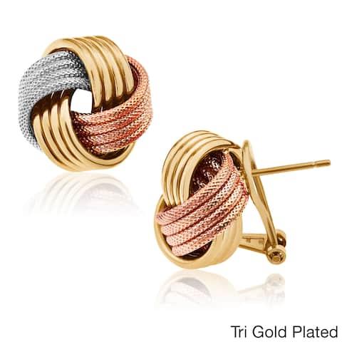 Gioelli Sterling Silver Omega Hoop Love Knot Earrings