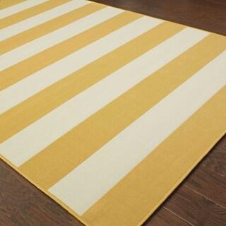 Havenside Home Madisonville Indoor/ Outdoor Stripe Rug - 5'3 x 7'6 (Option: Gold)