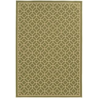 StyleHaven Indoor/ Outdoor Geometric Tile Rug (19 x 39 - Light Green/Ivory)