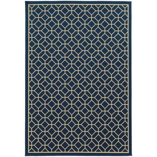 StyleHaven Indoor/ Outdoor Geometric Tile Rug (19 x 39 - Navy Blue/Ivory)