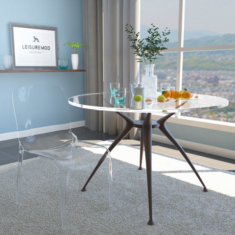 LeisureMod Laos Modern Clear Dining Chair