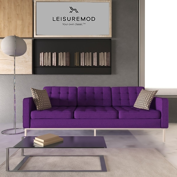 Carson Carrington Hirtshals Modern Purple Wool Fabric Button-tufted Sofa