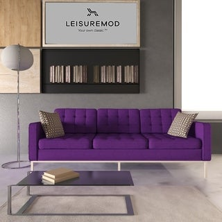 LeisureMod Lorane Modern Purple Wool Fabric Button-tufted Sofa
