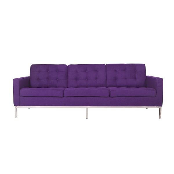 Strick U0026amp; Bolton Goodman Modern Purple Wool Fabric Button Tufted Sofa