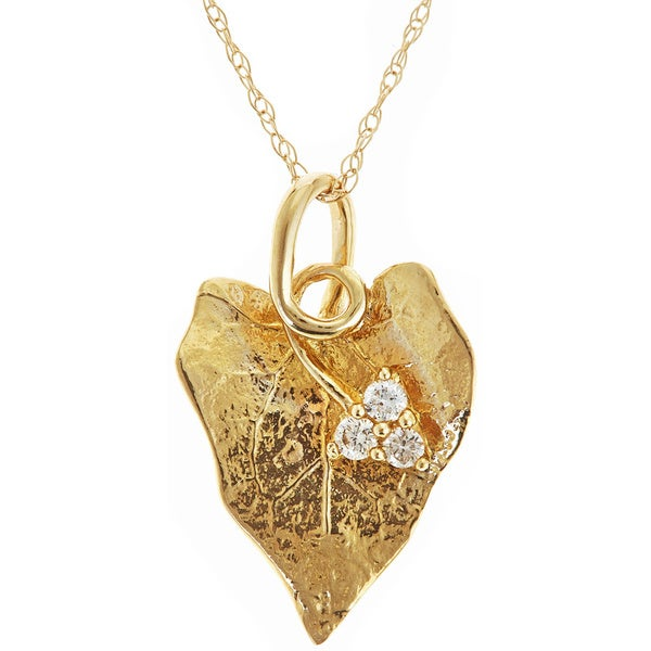 14k Yellow Gold Diamond Accent Leaf Necklace