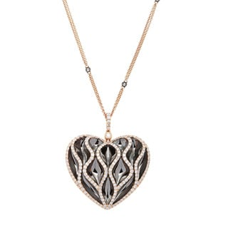 Azaro 18k Two-tone Gold 2 1/4ct TDW Diamond Heart Pendant Necklace (G-H, SI2-I1)