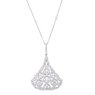 Azaro 18k White Gold 3 1/4ct TDW Diamond Teardrop Pendant Necklace (G-H, SI2-I1)