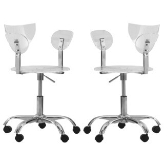 LeisureMod Leanor Transparent Adjustable Swivel Office Chair (Set of 2)
