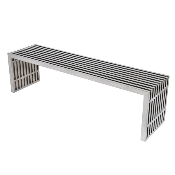 LeisureMod Sage Gridiron 59-inch Large Polished Stainless Steel Bench