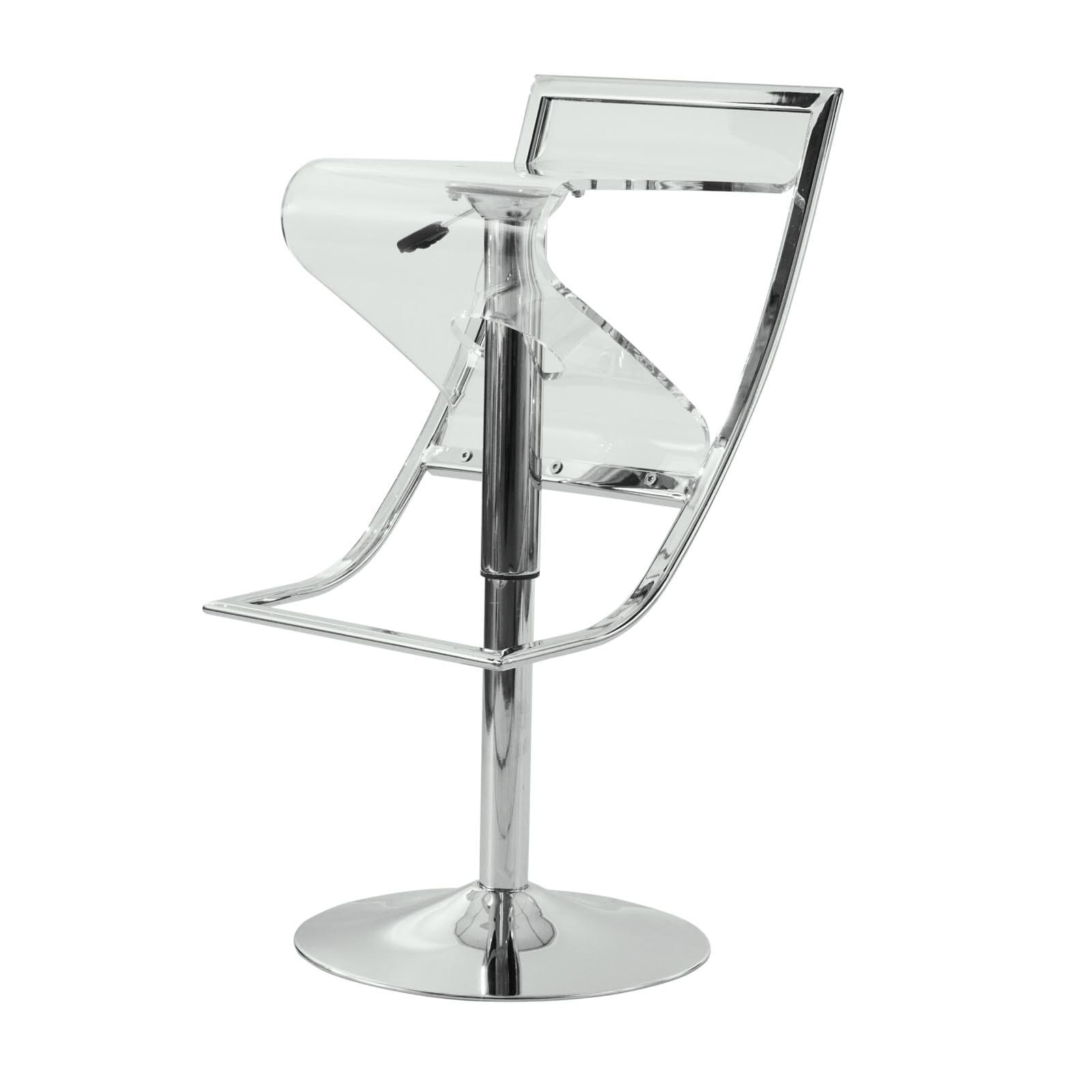 LeisureMod Clifton Clear Acrylic Adjustable Bar Counter Stool   N/A