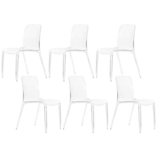 LeisureMod Laos Clear Modern Dining Chair (Set of 6)