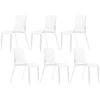 LeisureMod Laos Modern Dining Chair, Clear Set of 6