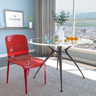 LeisureMod Laos Modern Transparent Red Dining Chair