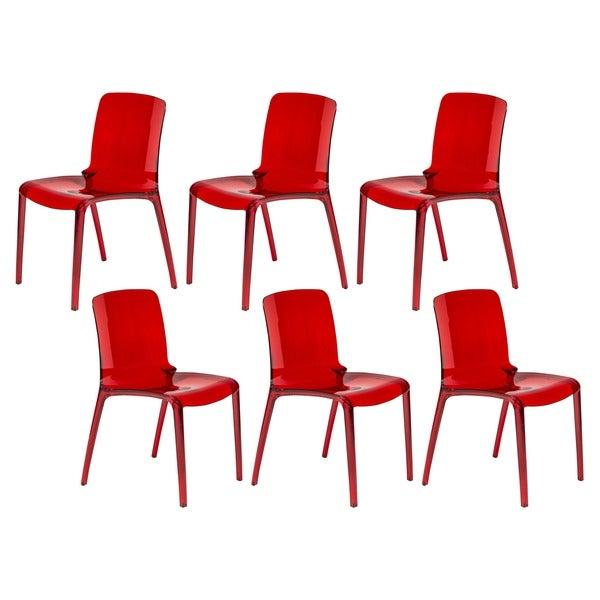 LeisureMod Laos Transparent Red Dining Chairs (Set of 6)
