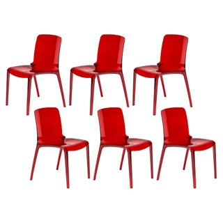 LeisureMod Laos Modern Dining Chairs, Transparent Red Set of 6