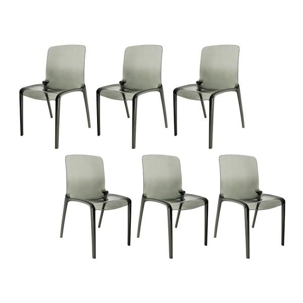 LeisureMod Laos Modern Dining Chairs, Transparent Black Set of 6