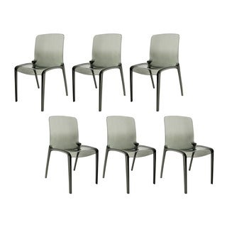 LeisureMod Laos Transparent Black Dining Chairs (Set of 6)
