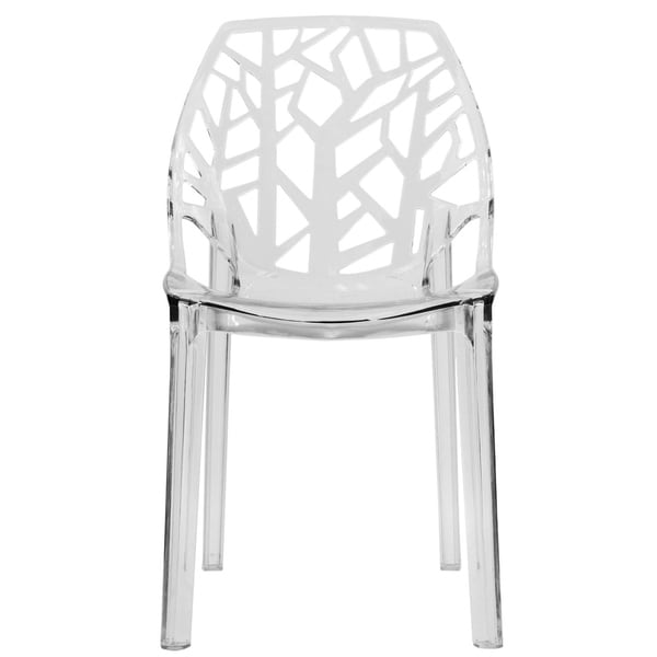 LeisureMod Modern Flora Clear Cut-out Plastic Dining Chair