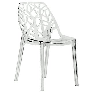 LeisureMod Modern Flora Clear Cut-out Transparent Plastic Dining Chair