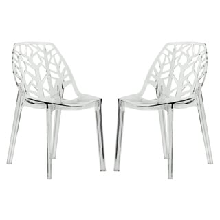 LeisureMod Modern Flora Clear Cut Out Transparent Plastic Dining Chairs  (Set Of 2)
