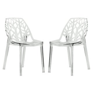 LeisureMod Modern Flora Clear Cut-out Plastic Dining Chairs (Set of 2)