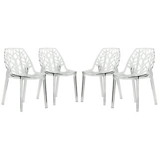 LeisureMod Modern Flora Clear Cut-out Plastic Dining Chairs (Set of 4)