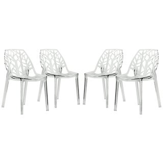 LeisureMod Modern Flora Clear Cut-out Transparent Plastic Dining Chairs (Set of 4)