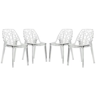 LeisureMod Modern Flora Clear Cut Out Transparent Plastic Dining Chairs  (Set Of 4)