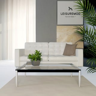 LeisureMod Ramson Rectangular Glass-top Coffee Table