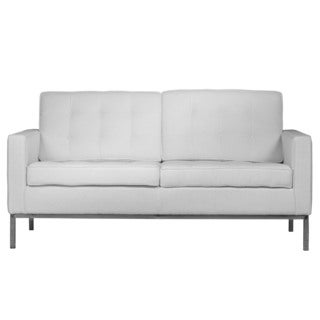 LeisureMod Lorane Modern White Wool Fabric Studio Sofa