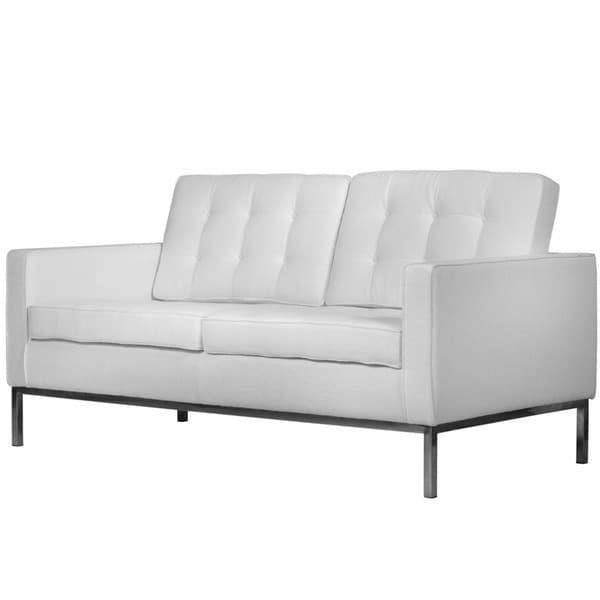 Leisuremod Lorane Modern White Wool Fabric Studio Sofa Free Shipping Today 16145784