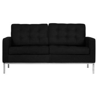 LeisureMod Lorane Modern Black Wool Studio Sofa