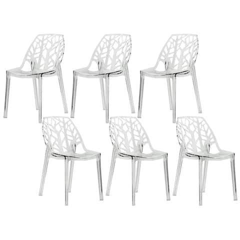 LeisureMod Modern Flora Transparent Clear Cut-out Plastic Dining Chairs Set of 6