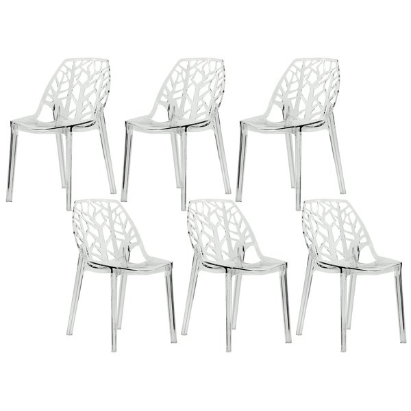 Dining Chair Sets Of 6: Shop LeisureMod Modern Flora Transparent Clear Cut-out