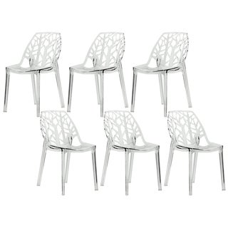 LeisureMod Modern Flora Clear Cut-out Transparent Plastic Dining Chairs (Set of 6)