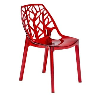 LeisureMod Modern Flora Red Cut Out Transparent Plastic Dining Chair