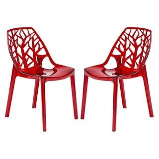LeisureMod Modern Flora Transparent Red Plastic Dining Chair (Set of 2)