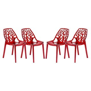 LeisureMod Modern Flora Transparent Red Plastic Dining Chair (Set of 4)