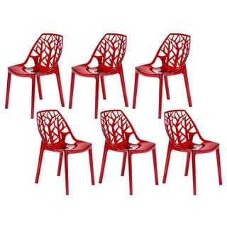 LeisureMod Modern Flora Transparent Red Plastic Dining Chair (Set of 6)