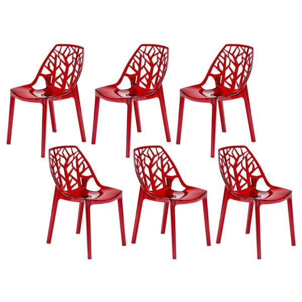 LeisureMod Modern Flora Transparent Red Plastic Dining Chair (Set of 6)