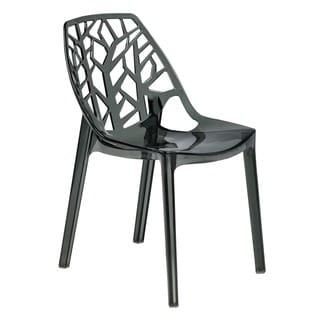LeisureMod Modern Flora Black Cut-out  Plastic Dining Chair