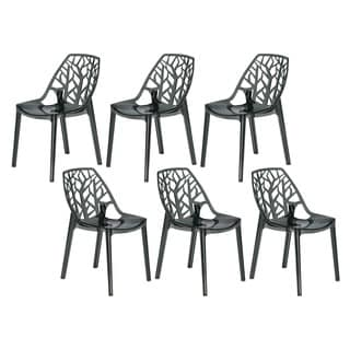 LeisureMod Modern Flora Transparent Black Plastic Dining Chair (Set of 6)