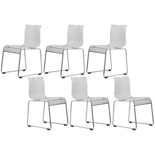 LeisureMod Moreno Transparent Clear Acrylic Modern Chair (Set of 6)