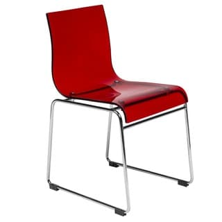LeisureMod Moreno Transparent Red Chair