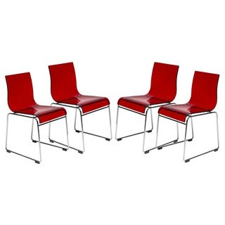 LeisureMod Moreno Transparent Red Chair (Set of 4)