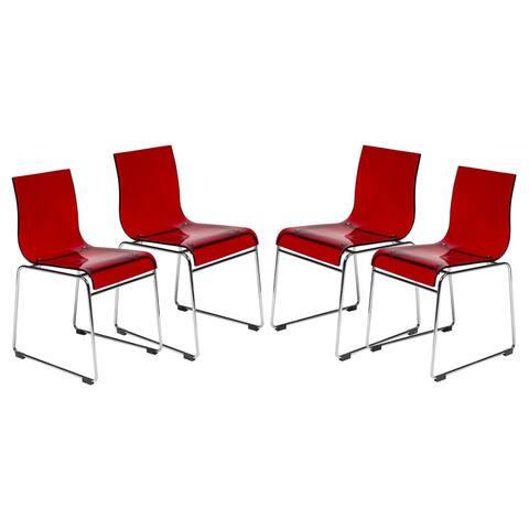 LeisureMod Moreno Transparent Red Chair (Set of 4)