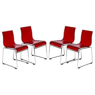 Shop Baxton Studio Lino Transparent Red Acrylic Dining